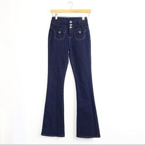 High-waisted flare denim jeans stretch 3 70s 0 euc